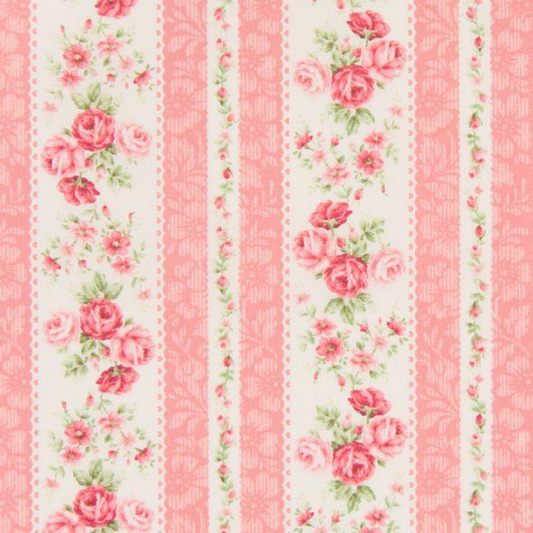 Bavlněná látka Růžičky v pruzích růžová Rose for You