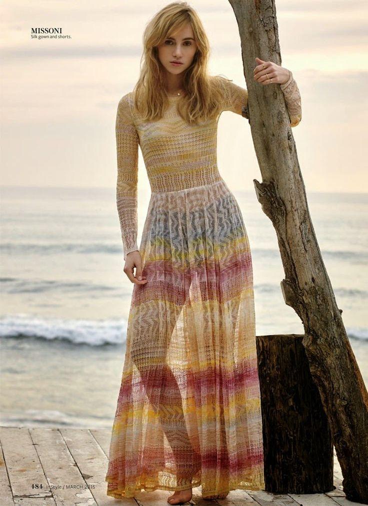 Fantasy Fashion Design: Suki Waterhouse viste looks bohemios en una playa para la revista Instyle