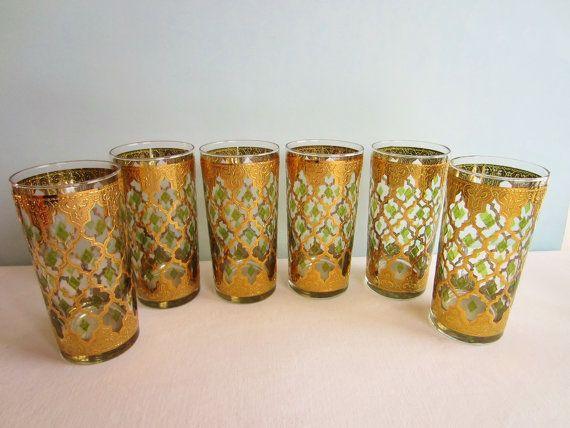 Amazing Vintage Culver Valencia Glassware   Tumblers   Drinking Glasses   Barware    Hollywood Regency   22 Kt Gold   Set Of 7