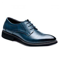 Vintage Pointed Toe and Lace-Up Design Formal Shoes For Men - SAPPHIRE BLUE