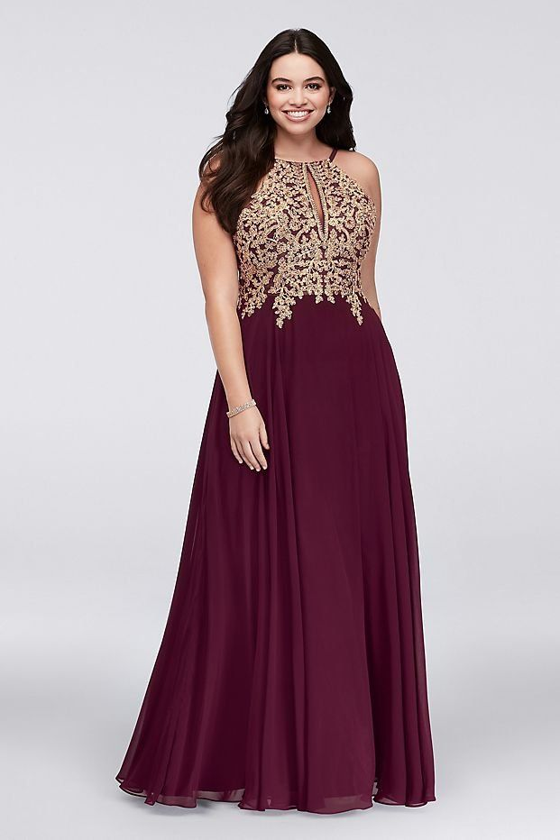 78e7ae5d713 Metallic Corded Lace and Chiffon A-Line Gown