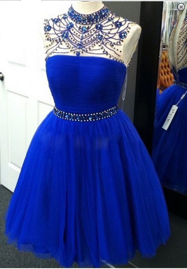 Sheer Neck Royal Blue Short Homecoming Dress