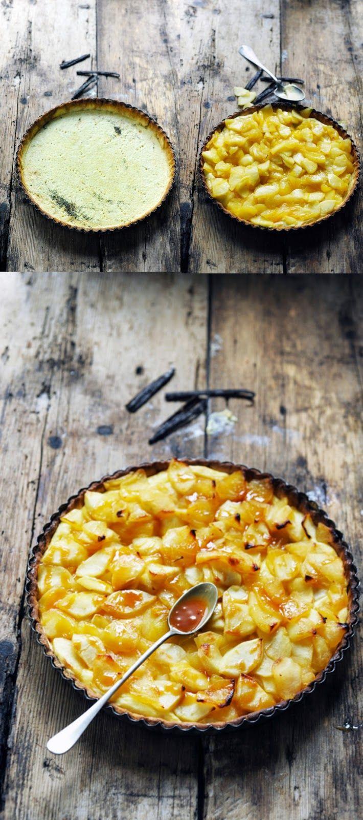 Tarte aux pommes confites et à la crème vanillée