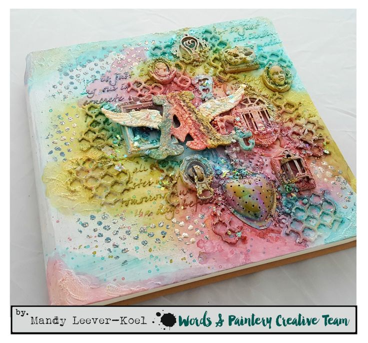Hi everyone!     Back to show you my designteaminterpretation of the Words & Paintery February Challenge.  I hope this colorful moodboar...