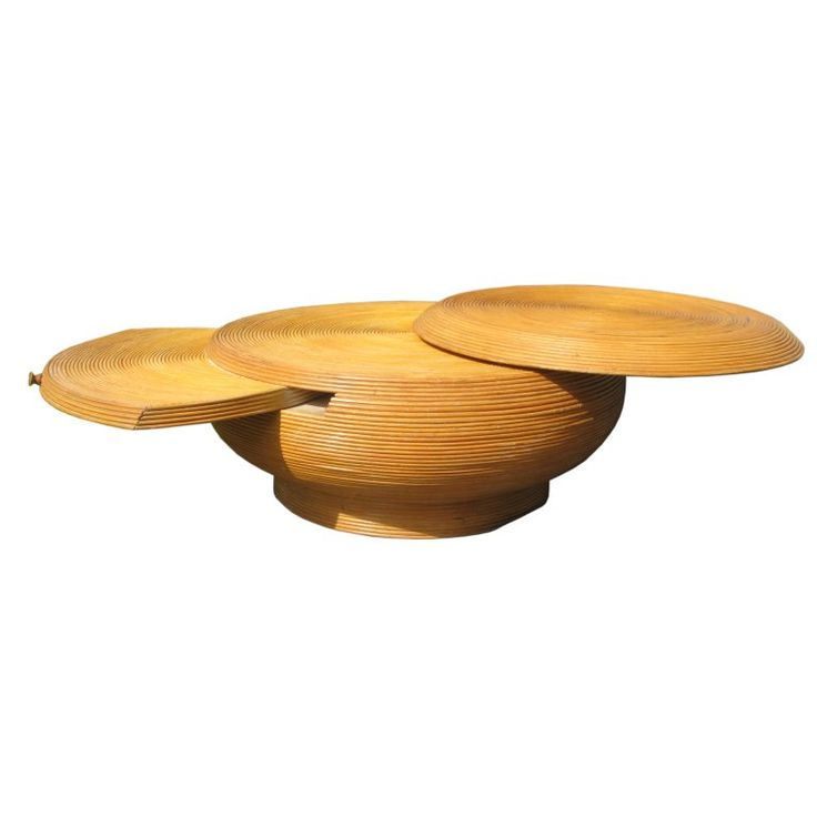 Reed Bamboo Extendable Vintage Coffee Table in the Style of Crespi | From a unique collection of antique and modern coffee and cocktail tables at https://www.1stdibs.com/furniture/tables/coffee-tables-cocktail-tables/