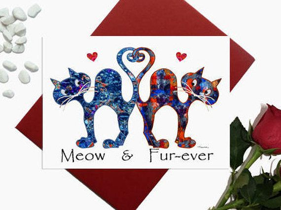 Valentines day card  Cat  Meow fur-ever  Cute cats