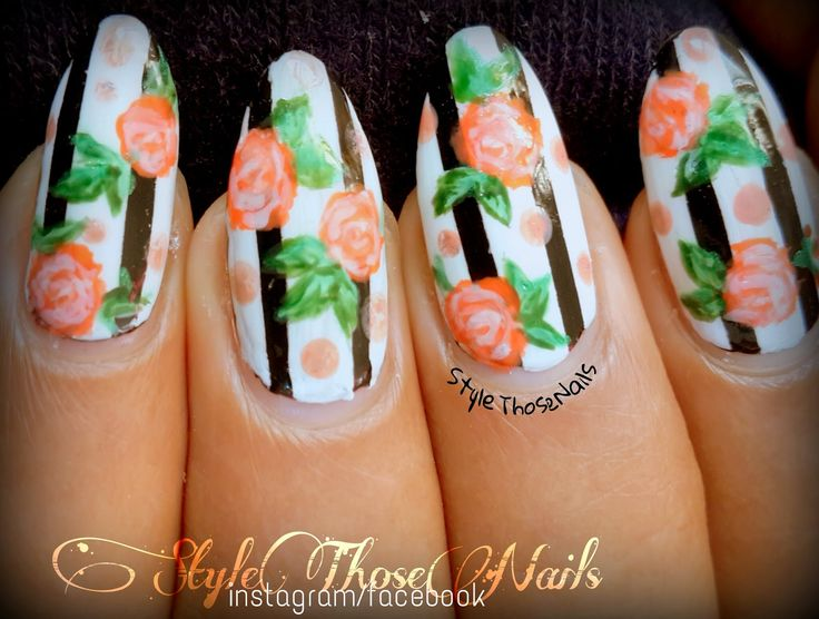 Style Those Nails: Roses - Stripes & Dots Nail Art : Finger Food Buffet
