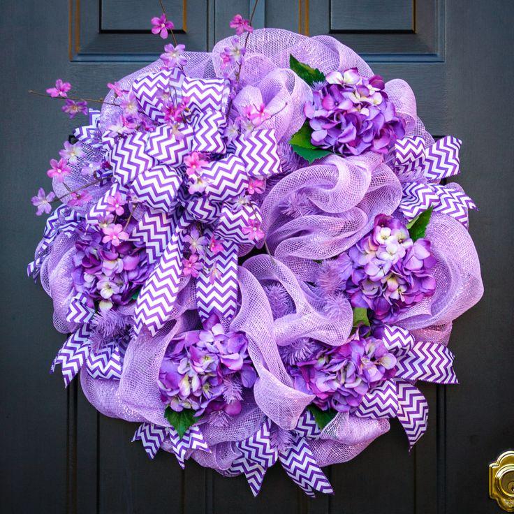 Lavender deco mesh wreath with purple hydrangeas, purple chevron ribbon and colorful spring flowers. by MyDoorDecorandMore on Etsy