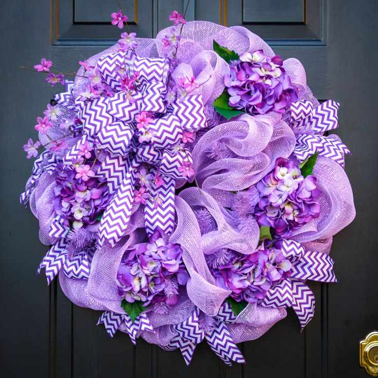 Lavender deco mesh wreath with purple hydrangeas, purple chevron ribbon and colorful spring flowers. by MyDoorDecorandMore on Etsy