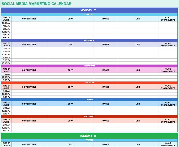 9 Free Marketing Calendar Templates For Excel - Smartsheet | Boss