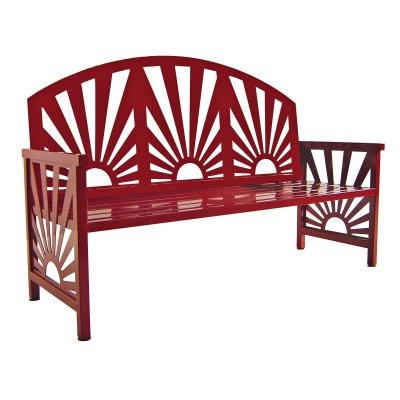 Elegant Red Garden Bench