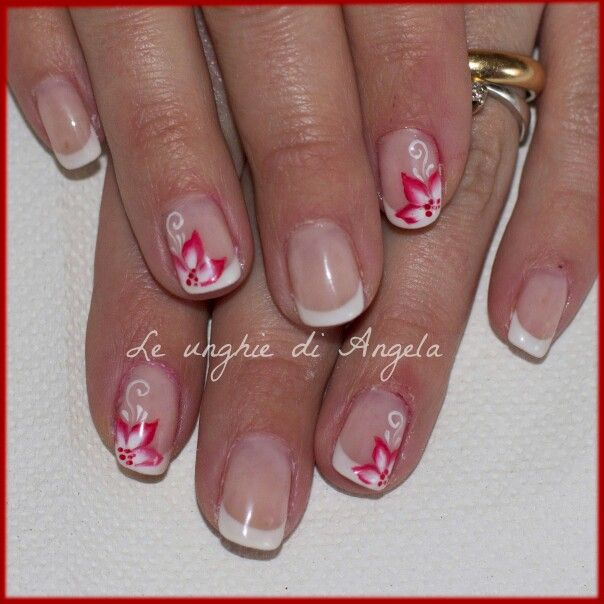 Simple gel polish manicure with french and one stroke flowers
