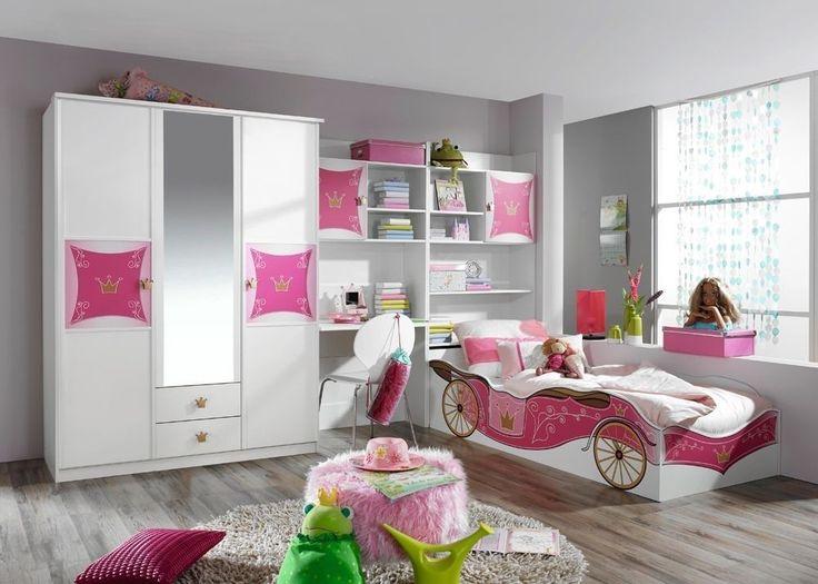 Kinderzimmer komplett Kate Weiß Rosa 8376. Buy now at https://www.moebel-wohnbar.de/jugendzimmer-kate-maedchenzimmer-prinzesinnenzimmer-weiss-rosa-8376.html