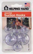 Helping Hands 50405 Assorted Suction Cup Hooks, Clear (3 pack) by Helping Hands. $3.19. Helping Hands 50405 Assorted Suction Cup Hooks, Clear (3 pack) Helping Hands 50405 Assorted Suction Cup Hooks, Clear (3 pack) Features: Ideal for displaying crafts, decorations, and more Installs easily over clean and smooth surface Assorted suction cup hooks includes 6 small and 2 large hooks Clear plastic Carded