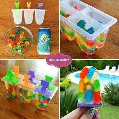 Gummy bear & sprite popsicles