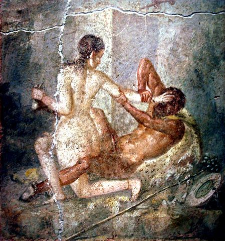 Hermaphroditus struggles with a satyr, fresco from Pompeii 45-79 AD