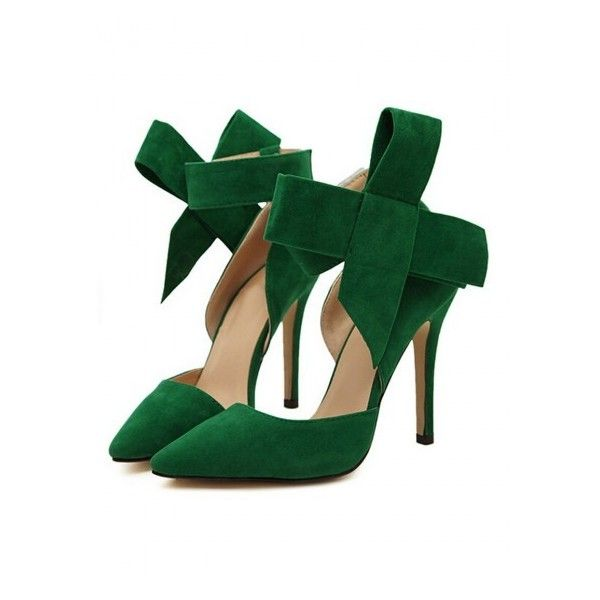 WithChic Green Detachable Bow Embellishment High Heeled Pumps (€35) ❤ liked on Polyvore featuring shoes, pumps, green high heel pumps, green platform shoes, high heel court shoes, high heel pumps and bow shoes