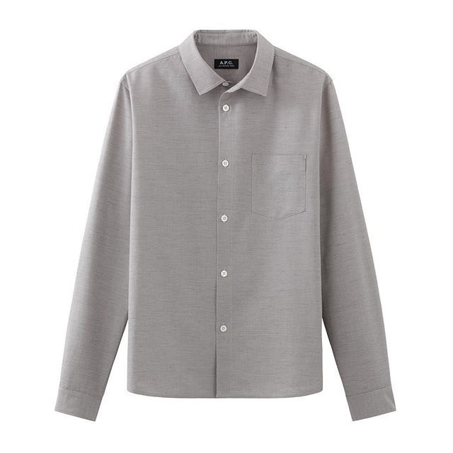 Grey Milan shirt from the men's #APC #FW16 collection. Available in stores and at apc.fr  Minimalist menswear | Minimalist male style | Capsule wardrobe | Intentional living | Slow fashion | Simple style