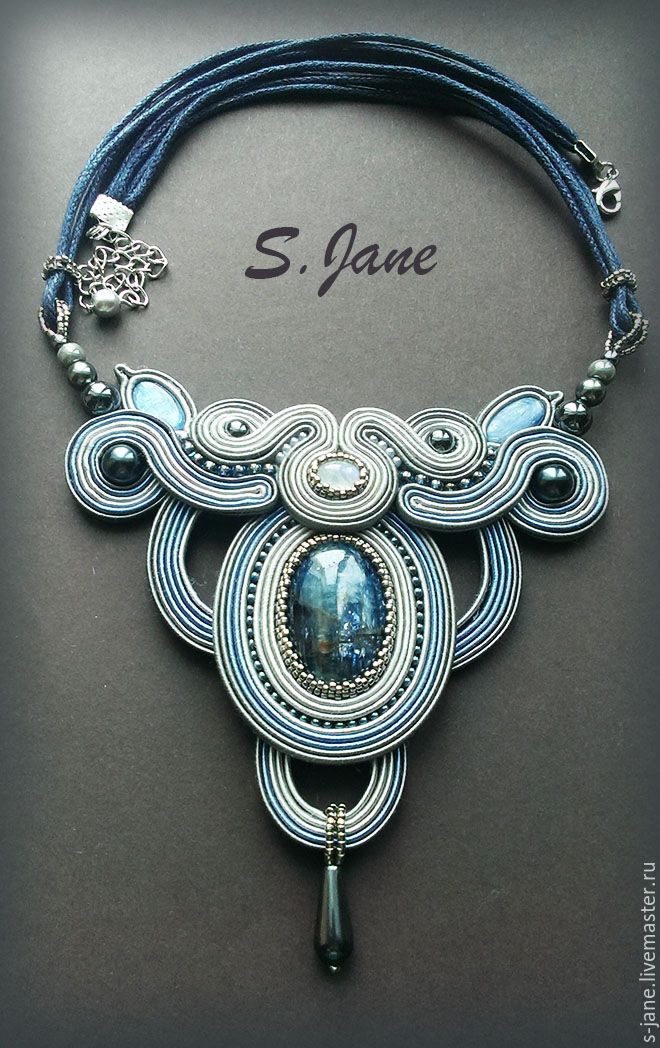 Купить Греческое колье. - серый, голубой, колье, подарок, украшение, стильное украшение, стильный аксессуар