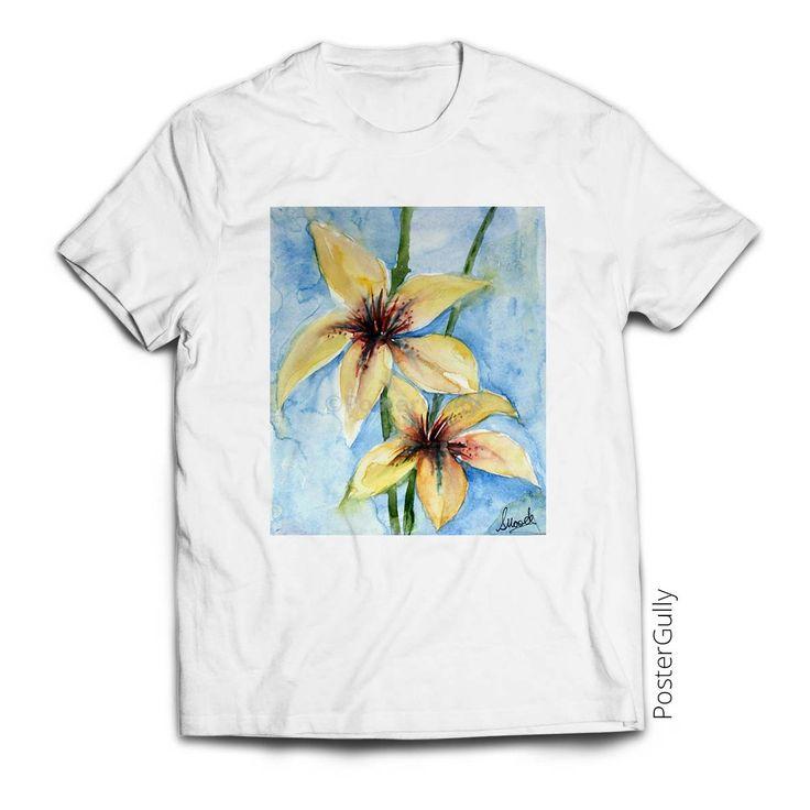 Identical Floral Twins T-Shirt #twinflowers #yellowflowers #paintedtshirt #apparel #whitetshirt #tshirtsformen