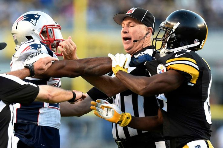 Patriots vs. Steelers:     October 23, 2016  -  27-16, Patriots  -     Pittsburgh Steelers wide receiver Antonio Brown, right, and New England Patriots cornerback Malcolm Butler (21) are separated by an official during the first half of an NFL football game in Pittsburgh, Sunday, Oct. 23, 2016.