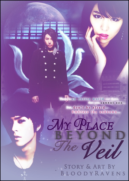 This is one of my graphics that I am most proud of XD. My Place Beyond the Veil features No Minwoo, formerly known as Rose of the TRAX, and Son Dongwoon of B2ST as well as my original character Hwang Aerin.