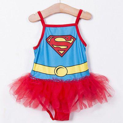 GLANE Brief 2017 NEW Hot Fresh Girls Kids Swimwear Superman Tankini Swimsuit Set swim suit with tutu skirt 2-6T Beach Dress