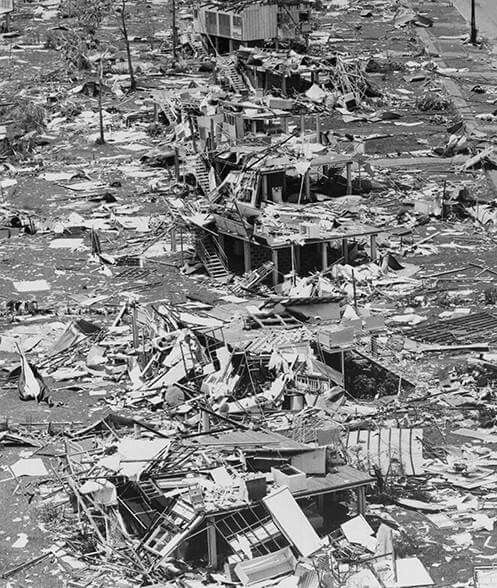 On Christmas Day 1974 Cyclone Tracy,which virtually destroyed Darwin.It flattened 70 per cent of the city and left 30,000 homeless.