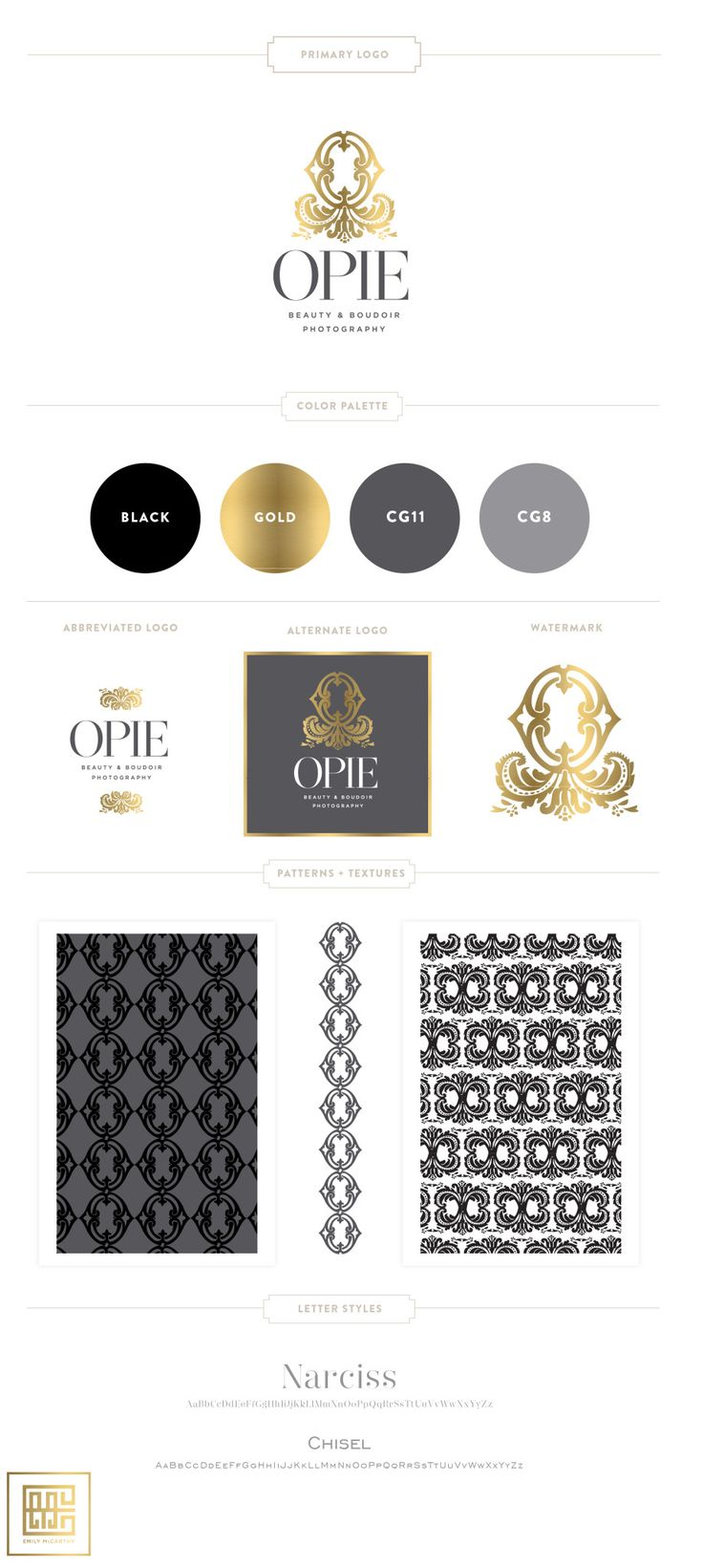 Emily McCarthy Branding Design   Opie Beauty & Boudoir Photography Branding…