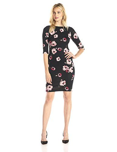 Donna Morgan Women's 3/4 Sleeve Floral Printed Scuba Bodycon Dress