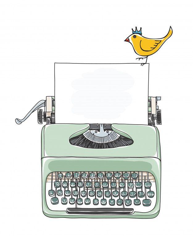 Typewriter Portable And Yellow Bird Hand Drawn Vector Premium