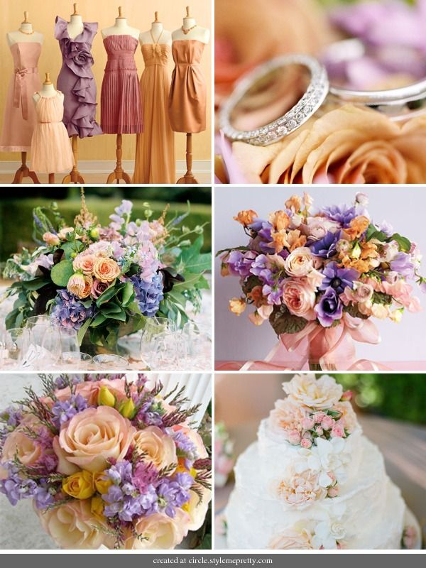 Peach & Lavender Spring Wedding :  wedding bouquet bridesmaids cake dress flowers Ibb 1296347450 Peach Palette