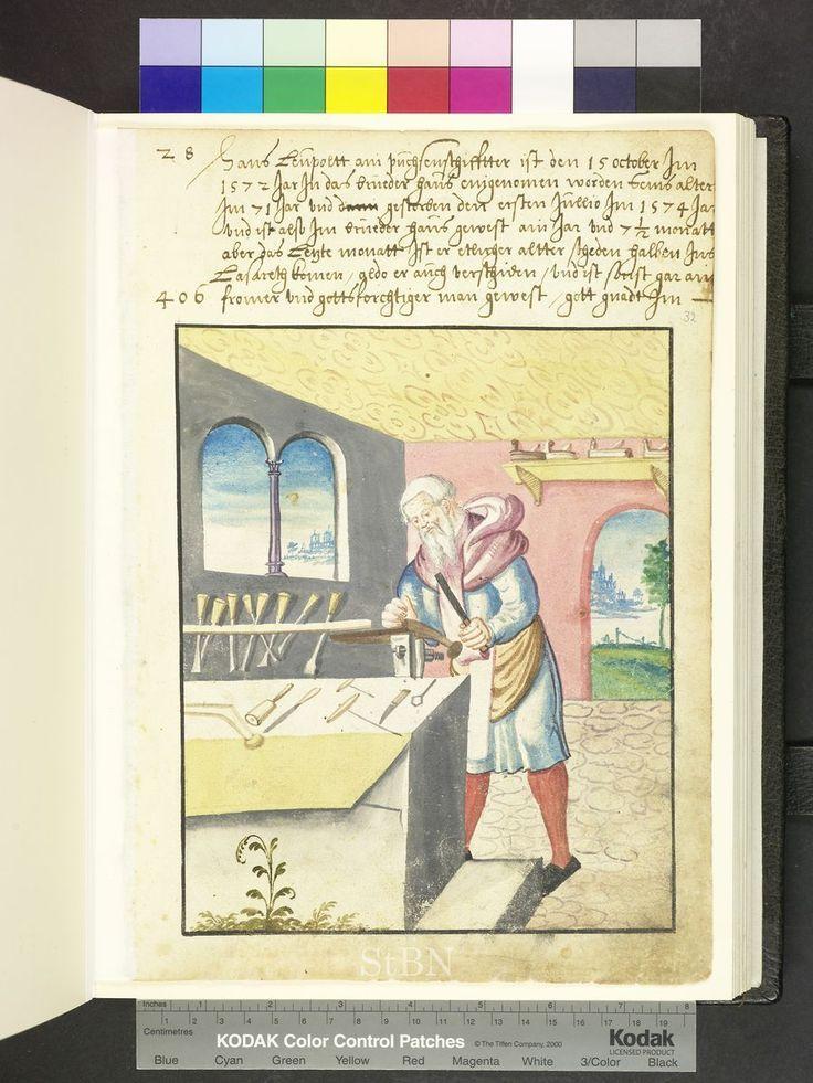 Carpenter and carpentry tools  Die Hausbücher der Nürnberger Zwölfbrüd