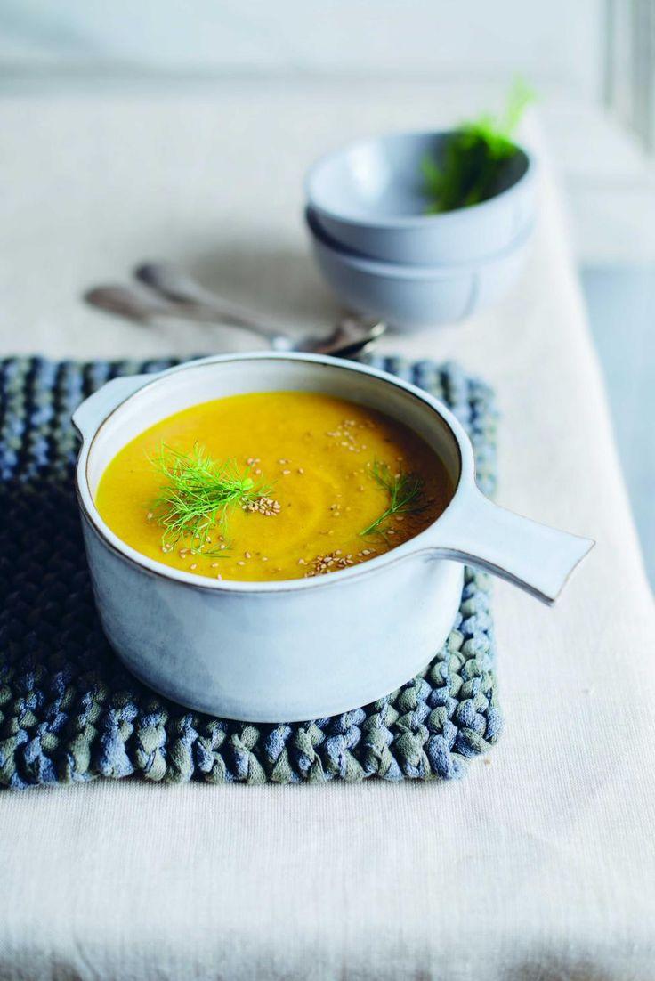 soep van geroosterde wortel en venkel met gember en look