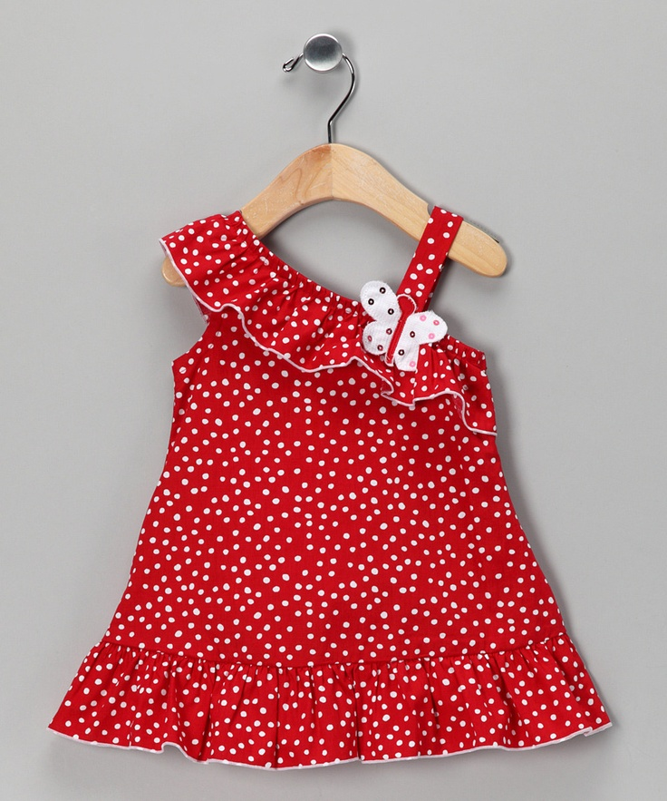 Red Asymmetrical Poplin Sundress
