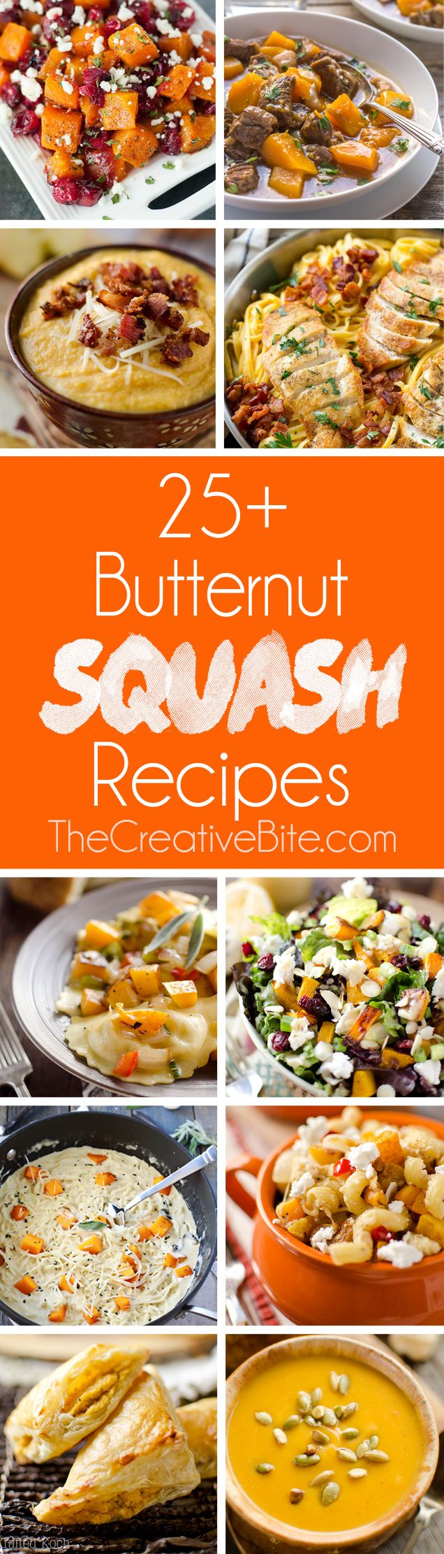 With over 25+ Butternut Squash Recipes, you are sure to find a dinner, side dish or dessert that you will love with this seasonal fall vegetable! http://www.thecreativebite.com/butternut-squash-recipes/?utm_campaign=coschedule&utm_source=pinterest&utm_medium=Danielle%20%7C%20The%20Creative%20Bite&utm_content=25%2B%20Butternut%20Squash%20Recipes