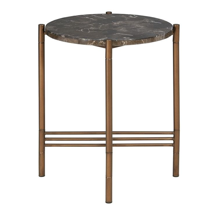Madison Park Rowen Faux Marble End Table, Red/Coppr (Rust/Coppr)