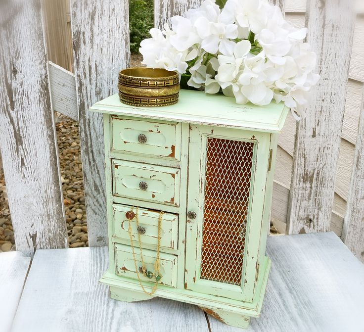 Light Green Shabby Chic Jewelry Box, Upcycled Vintage Wood Jewelry Box.  via Etsy.  How many of these old jewelry boxes have I overlooked at yard sales?...