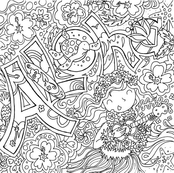 Summer fun aloha coloring page adult coloring for Summer coloring pages for adults