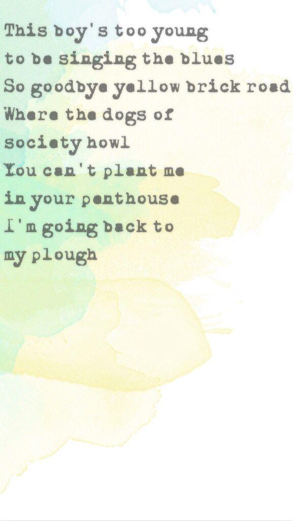 Goodbye yellow brick road thingy I made    Elton John lyrics