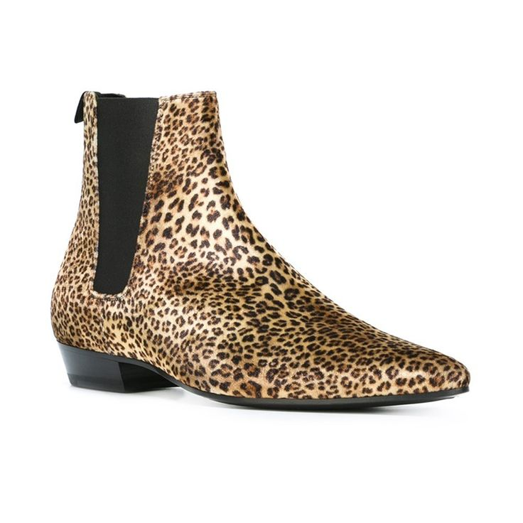 Sexy Leopard Print Boots Men Low Heels Cowboy Boots Mens Pointed Toe Ankle Boots For Men Botas Hombre Footwear Chelsea Boots