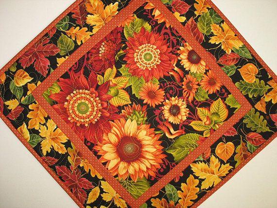 Autumn Table Topper Sunflowers handmade table runner