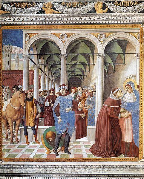 File:Benozzo Gozzoli - Arrival of St Augustine in Milan (scene 8, north wall) - WGA10300.jpg