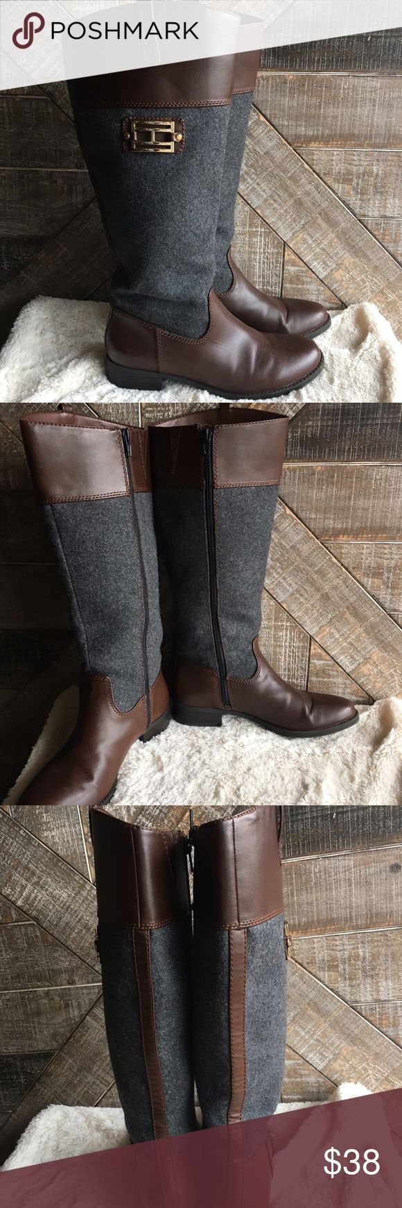 Gray and Brown Tommy Hilfiger Tall Boots Gray and Brown Tall Tommy Hilfiger Boots in good used  condition. Womens size 7. No trades, reasonable offers through the offer button. Tommy Hilfiger Shoes