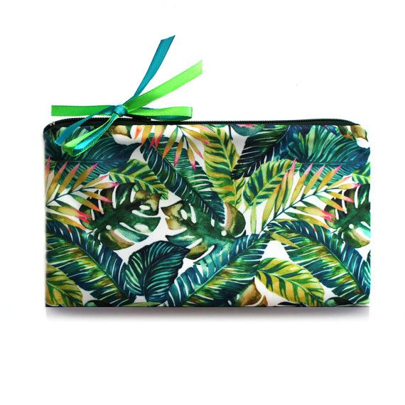 Cosmetic Bag // Tropical // travel bag  make up by ZIZAccessories