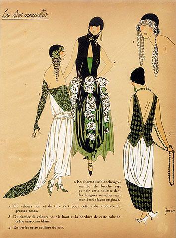 1923 '' Les Idées Nouvelles de la Mode '' Fashion Art Deco Pochoir