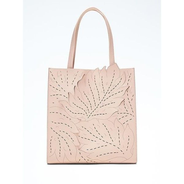 Banana Republic Portfolio Structured Lasercut Leaf Tall Tote ($158) ❤ liked on Polyvore featuring bags, handbags, tote bags, pink blush, leather handbags, handbags totes, pink leather tote bag, tote purses and pink leather tote