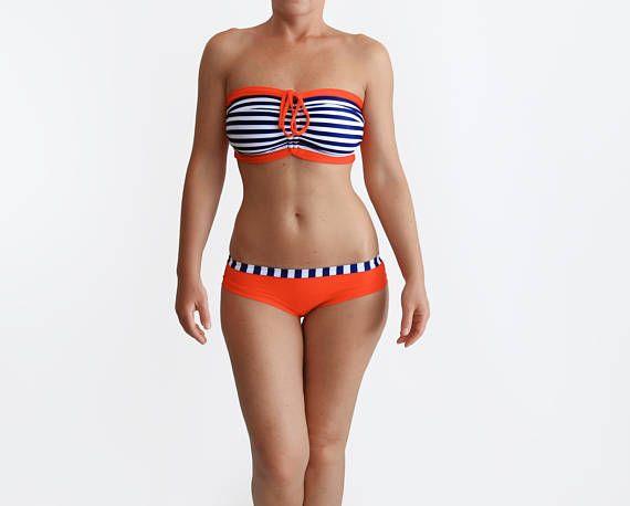 Nautical Swimsuit Anchor Bikini Striped Bathing Suit Womens