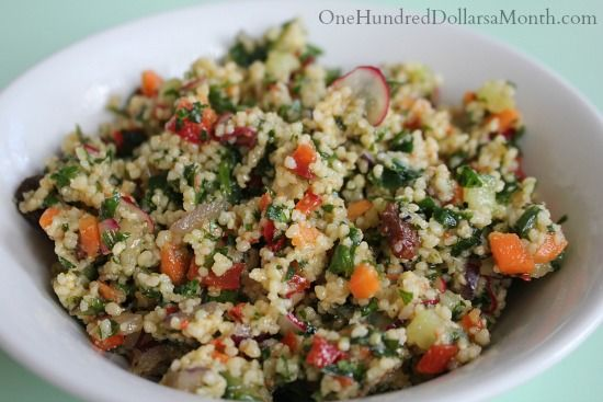 Bulgur Salad with Cucumbers, Red Peppers, Radishes, Carrots and Lemon  #foodstorage #garden