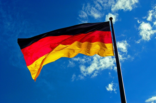 Flag of Germany - The German flag consists of three equal horizontal bands displaying the national colors of Germany. The flag was first adopted as the national flag of modern Germany in 1919, during the Weimar Republic. The three colors represent; Yellow - a symbol of generosity / Red - hardiness, bravery, strength & valor / Black - determination!